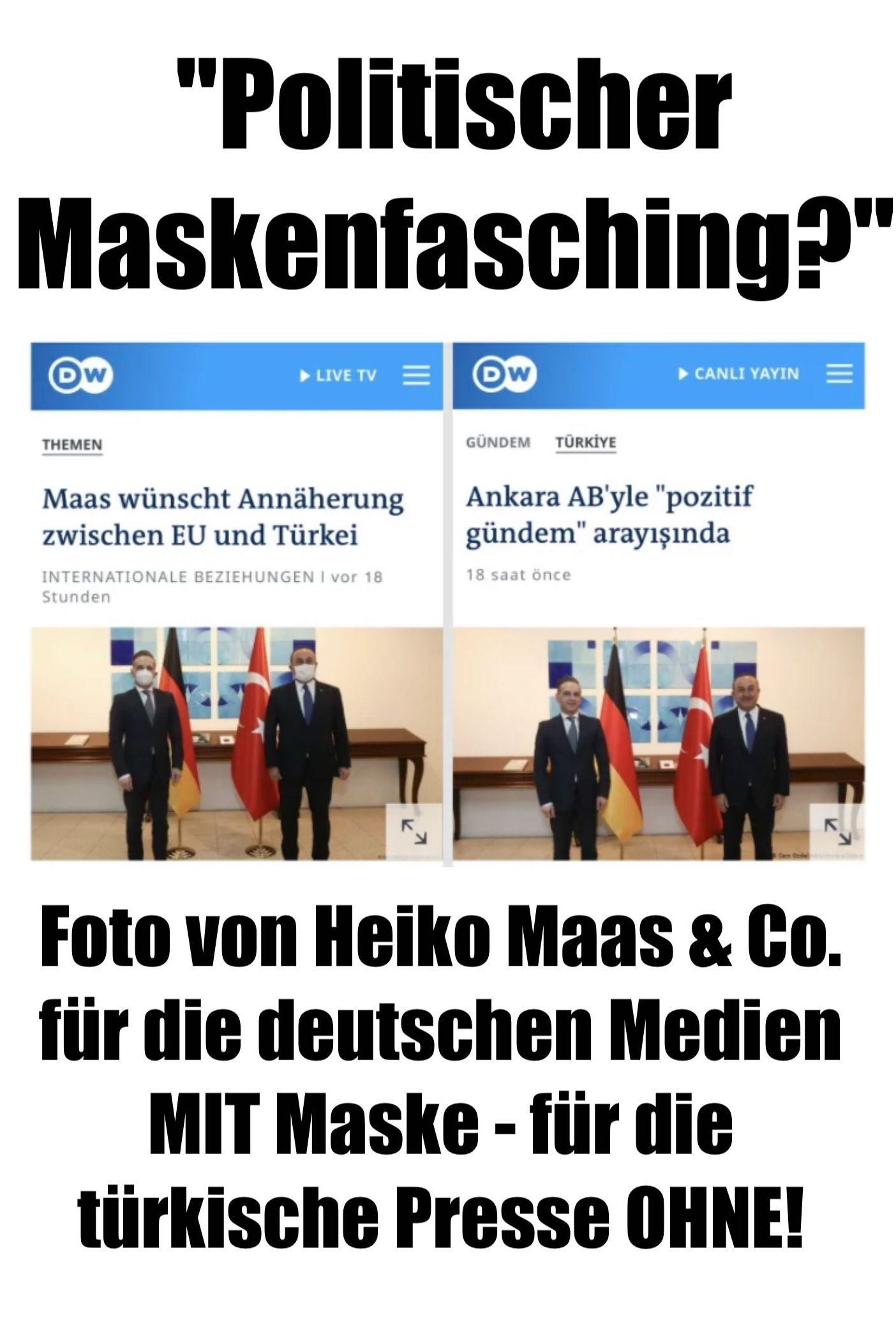 """""""Politischer Maskenfasching?"""": Foto von Heiko Maas & Co. für die deutschen Medien MIT Maske - für die türkische Presse OHNE! So werden Sie für dumm verkauft!"""
